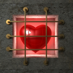 50758201 - red glossy heart behind gold bars in the concrete wall.