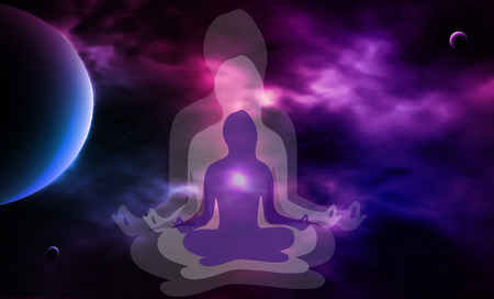 39405932 - outer space. meditation. woman silhouette. vector illustration
