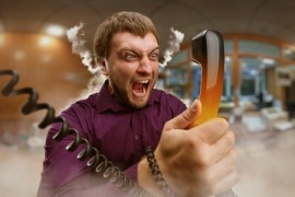 43775966 - angry bearded man screaming into the phone
