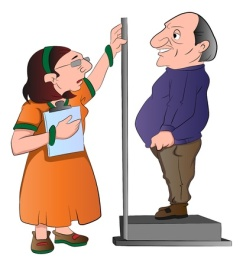 22066379 - lady measuring a man's height, vector illustration