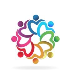 68216466 - teamwork heart love hug people vector design