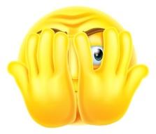 44881067 - an emoticon emoji looking very scared hiding behind his hands