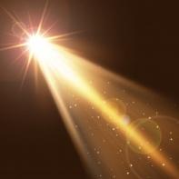 13638380 - spotlight single gold on smog background