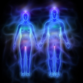 47624946 - human energy body aura with chakras - woman and man
