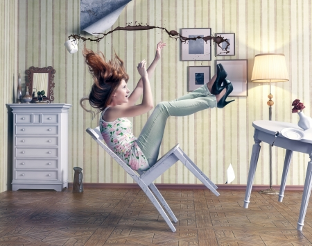 20296349 - girl falls from a chair in vintage room