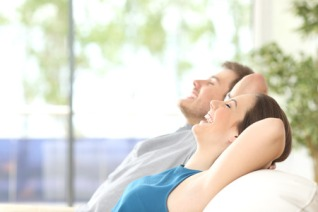 couple rested on couch