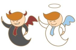 17414714 - cartoon character of angel and devil