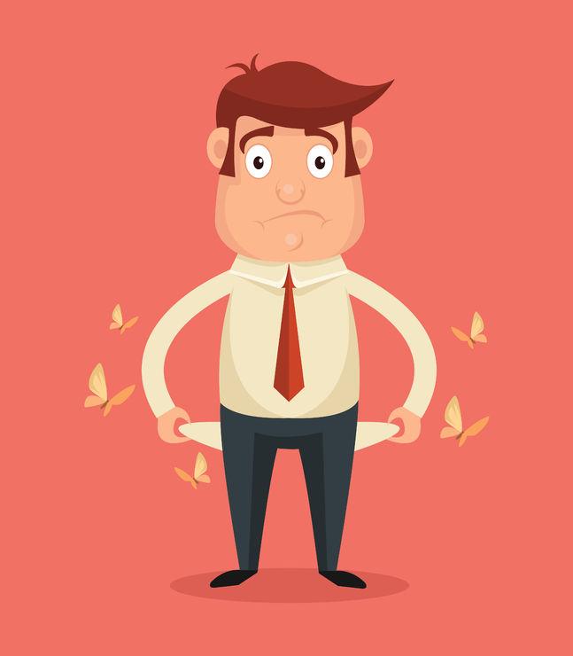 49160020 - businessman has no money. vector flat illustration