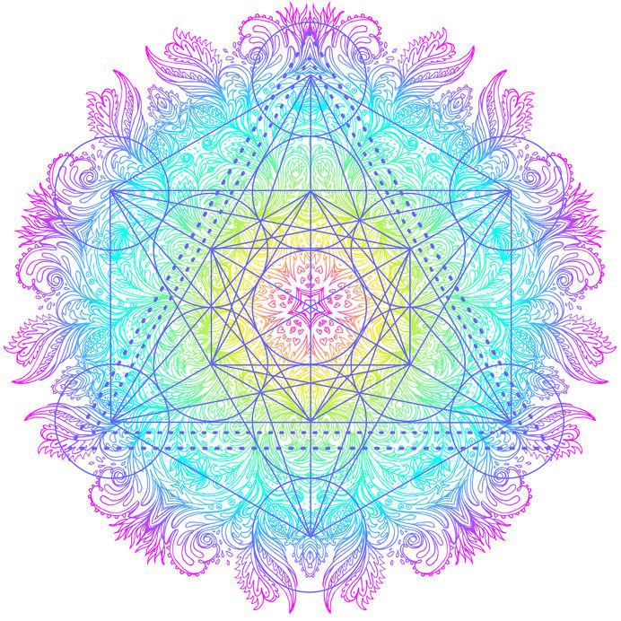 Decorative mandala round pattern with sacred geometry element Me