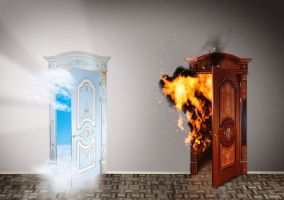 17420701 - two doors to heaven and hell  choice concept