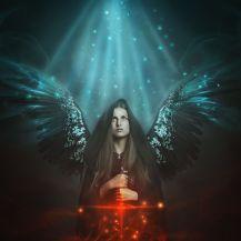Fallen angel with black wings