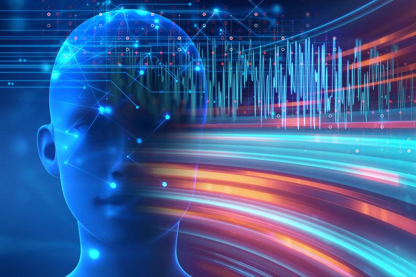 silhouette of virtual human on brain delta wave form 3d illustra
