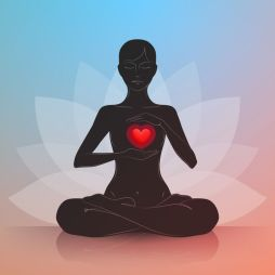 Woman with heart. Lotus position