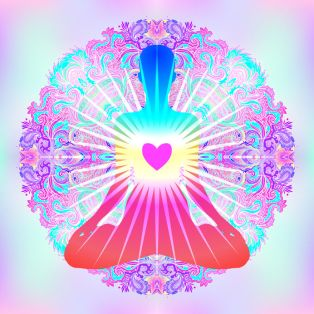 Heart Chakra concept. Inner love, light and peace. Silhouette in