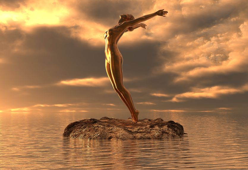 statue golden girl doing yoga at sea 3d illustration