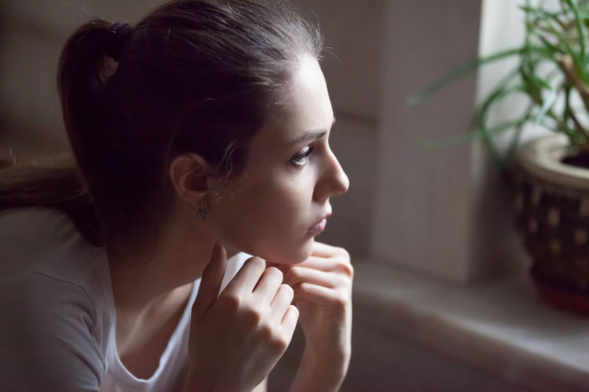 Upset girl feel down having relationships problems