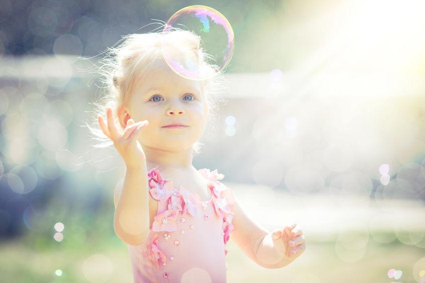 little girl bubble