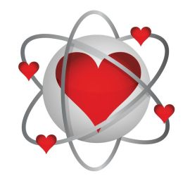 17540280 - atomic love concept illustration design over a white background