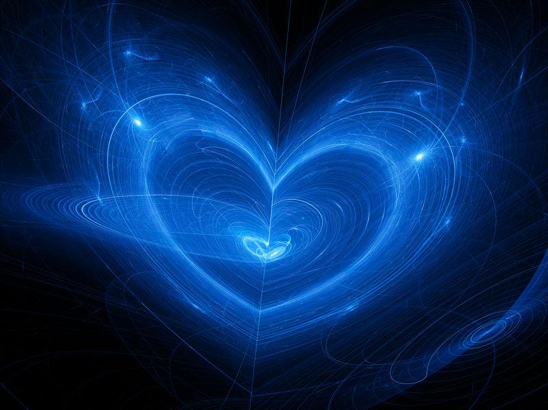Blue heart fantasy nebula in space