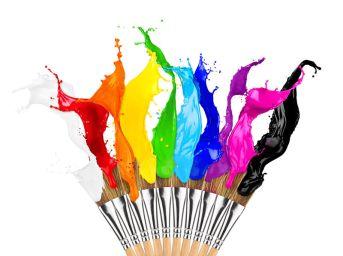 colorful color splash paintbrush row