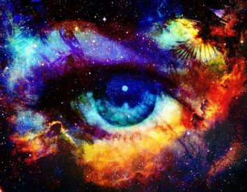 Goddess eye and Color space background with stars.